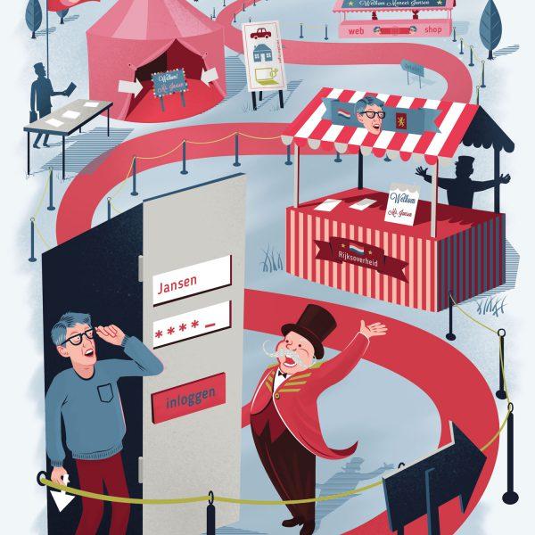 illustratie over iDin voor Clou Magazine door Ricky Booms Illustratie
